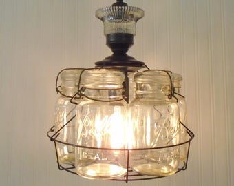 Vintage Mason Jar Basket CHANDELIER Light Fixture Quarts Upcycle Repurpose with Edison Bulb