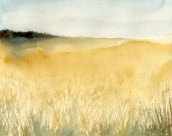 Landscape Original watercolor painting 10x8 inch