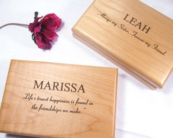 5 Personalized Engraved Wood Jewelry Boxes Bridesmaid Maid of Honor Flower Girl Custom Wedding Keepsake Gifts Bridal Party Gifts