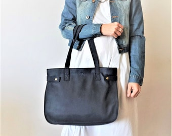 Oversize  leather tote,Every day bag, Woman bag- black