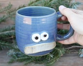 Traditional Mans Mustache Mug. Blue Coffee Cup. Large 16 Ounce Stoneware Pottery Funny Mustaches for Him Face Mug Mans Big Handle Coffee Cup