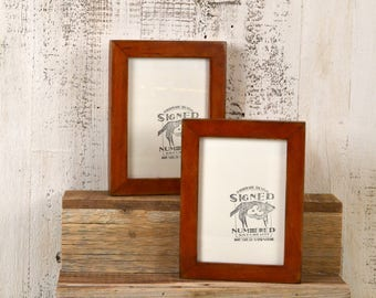 5x7 inch Picture Frame in 1x1 Flat Style with Super Vintage Wood Tone Finish - IN STOCK - Same Day Shipping - 5 x 7 Photo Frame Brown