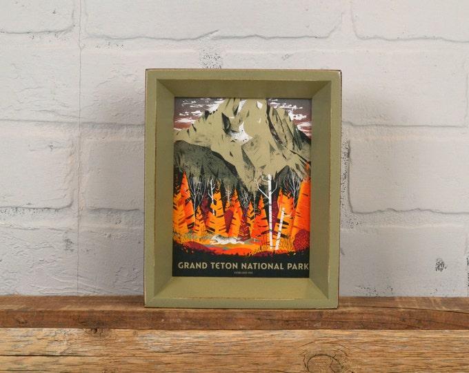 Grand Teton National Park Framed Postcard - Wyoming Travel Gift Frame - Vintage Old Green Finish Park Slope Style - IN STOCK Same Day Ship