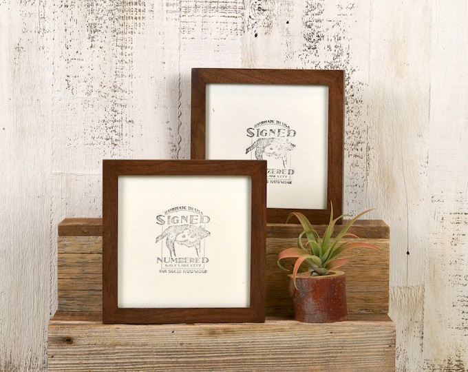 """6x6 Square"""" Picture Frame in PeeWee Style on Walnut with Burnished Finish - IN STOCK - Same Day Shipping - Gallery Frame 6 x 6 Solid Walnut"""