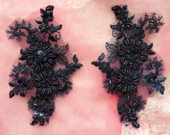 "Appliques Floral Venise Lace Navy Mirror Pair Sequin Beaded 7"" (DH50X-nv)"
