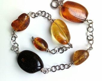 Natural Multicolor Baltic Amber Nuggets and Sterling Silver Bracelet - Adjustable- Handmade! LPS La Perla Scaramazza
