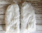 Vintage Rabbit Fur Mittens, Womens Fur Mittens, 1970s White Fur Mittnes, Winter Mittens Genuine Rabbit Fur, Size Med. Mittens, White Mittens