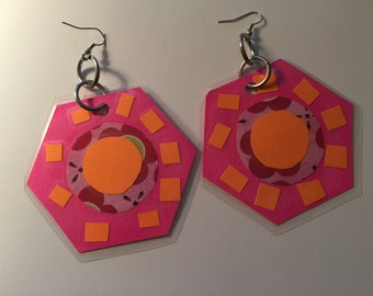 Pink Geometric Earrings, Pink Geometric Dangles,  Pink Funky Earrings, Runway Dangles, Runway, Funky Dangle, Big Earring, laminated dangles