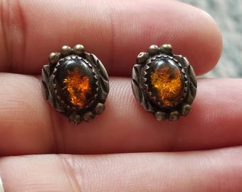 Beautiful Pair of  vntg Sterling silver dark Honey or butterscotch amber earrings, ethnic, hand made, no markings
