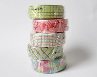 Geometric Set of 5 mt Kamoi Paper Masking Tape
