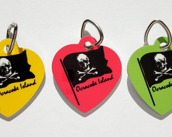 Ocracoke Island Pirate Flag Pet tag aluminum ID for cats and dogs skull crossbones assorted colors