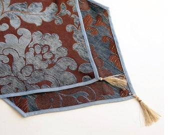 Damask Tapestry Table Runner, Long Hexagonal, Table Cloth Top Decor, Blue Brown, Gold Tassels,Mat Tablecloth, OOAK Home Decor Gift Handmade