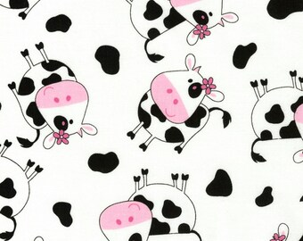 Tossed Whimsical Cute Cows Pink Black and White Farm Animal Fun Fabric TT