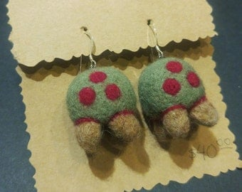 Metroid Video Game Earrings, Felted Wool with Sterling Silver Wires