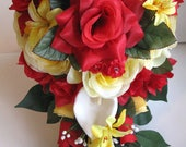 """Reserved listing Wedding Bouquet Bridal Silk flower RED YELLOW CALLA Lily Cascade 9 pc package Decoration flowers """" Roses and Dreams"""""""