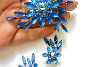 Vintage Judy Lee Rhapsody in Blue Brooch & Clip On Earrings Match Set Signed in original box - Book Piece - Art.654/4