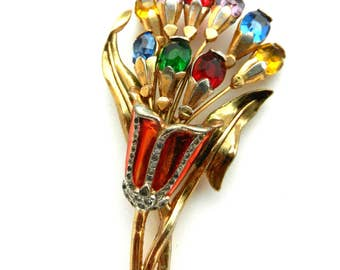 Rare and Gorgeous Art Nouveau Rhinestone Flower Brooch European Vintage Jewelry - Rhinestones, Enameling & Russian Gold finish -Art.701/4