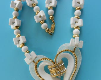 White romantic  and showy fancy beads & decorative heart necklace-large heart centerpiece necklace for a so cool summer style look-Art.752/4