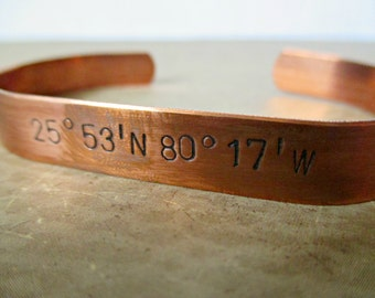 men's thick copper cuff - hand stamped coordinate or personalized message copper cuff bracelet