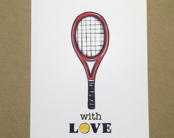 "Tennis ""With LOVE"" Folded Blank Note cards Set of 4 cards with envelopes"