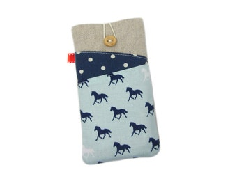 Horse iPhone Pouch, iPhone 7 Case, Cute Phone Case, Gift for Horse Lover, iPhone SE Case, iPod 6G, iPhone 7 Plus Sleeve, iPhone 6S Case