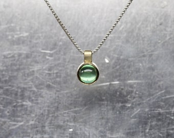 Small Green Tourmaline 14K Yellow Gold Silver Necklace Round Underwater Cabochon Gemstone Brazil Delicate Bezel Gift Idea Her - Pond Bubble