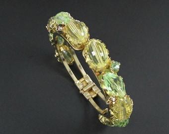 Beaded Clamper Bracelet, Yellow Bracelet, Green Bracelet, Chunky Bracelet, Gold Bracelet, Rhinestone Bracelet, Spring Bracelet