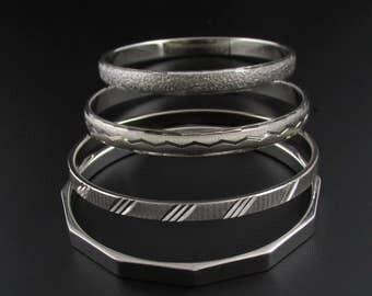 Monet Silver Stacking Bangles, Silver Bangles, Monet Bangles, Stacking Bracelets, Silver Bracelets, Bracelet Set, Matching Bracelets