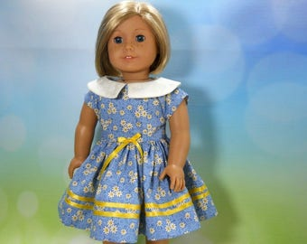 18 inch doll clothes made to fit dolls such as American Girl®  Blue Yellow Daisy Dress, 05-2034