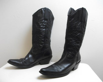 Black Leather Matisse 80s Cowboy Boots, Size 6 1/2