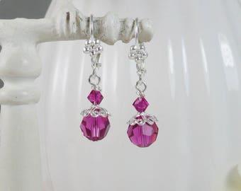 Pink Earrings Swarovski Sterling Silver Filigree Gifts for Her