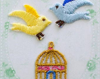 Little Bird, Embroidered Iron On Patch, Birdcage, Japanese Iron on Applique, Kawaii Bird & Birdcage Motif, Embroidery Applique,3PCS, W333