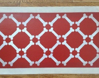 """Small Dog Canvas Pet Placemat Floorcloth White Bones on Red - 13"""" x 23"""""""