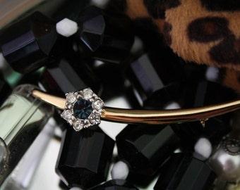 Diamante detailed curved bar brooch, vintage, elegant
