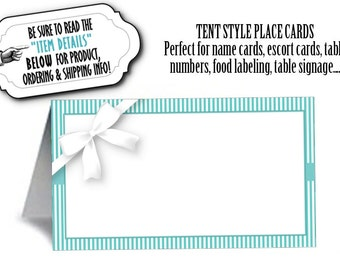 12 Tent Style Place Cards, Food Buffet Table Cards, Aqua Color Scheme, Stripes, Wedding, Bridal Shower, Baby Shower, Birthday