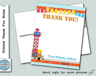 Printed Thank You Note Cards with Envelope, Construction Theme, Builder, Worker, Stop Sign, Red, Yellow, Blue, Birthday Party, Baby Shower