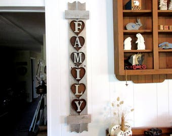 Reclaimed Wood Family Sign / Primitive Wood Family Sign / Rustic Family Sign / Rustic Wood Wall Hanging / Primitive Wall Decor / Rustic Wood