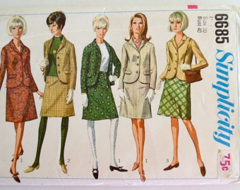 Vintage Simplicity 6685 Misses Career Suit A Line Skirt & Jacket Size 20 UNCUT
