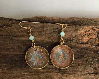 Brass Earrings, Patina Earrings, Blue/Real Earrings
