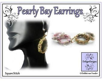 Beading Pattern, Tutorial, Earrings - PEARLY BAY