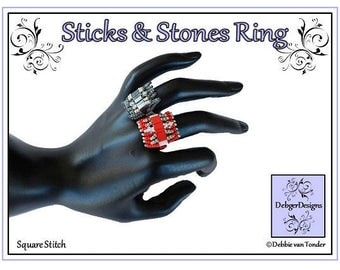 Beading Pattern, Tutorial, Ring- STICKS and STONES
