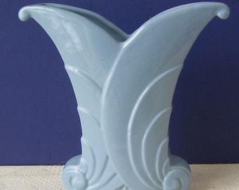 Abingdon Light Blue Pottery Art Deco Style Vase, Swirled Sides, Made in U.S.A. Country Cottage, Sky Blue Vase, Studio Art Vase