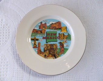 Vintage New Mexico Souvenir State Plate Large 10 Inch Decorative Collector Travel Vacation Retro Wall Decor NM