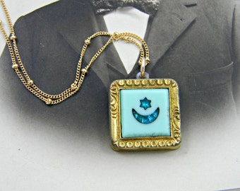 Antique Crescent Moon and Star Fob Pendant Necklace, Gold Filled Fob, Blue Rhinestone, Robins Egg Blue, Victorian Pocket Watch Fob Pendant