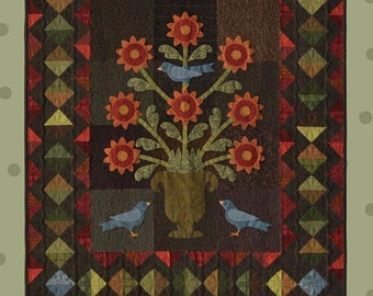 Flower Urn Wallhanging Wool Quilt Pattern All Through the Night