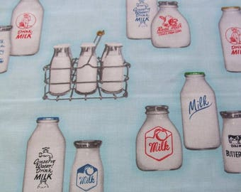 Down on The Farm Aqua Milk Bottles Retro Robert Kaufman Fabric Yard