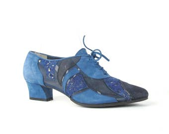 1990s Blue Suede Shoes Patchwork Shoes Lace Up Oxfords Tie Shoes Sheer Mesh Shoes Blue Leather Heels Vintage Pointy Toe Heels Size 6 E1065