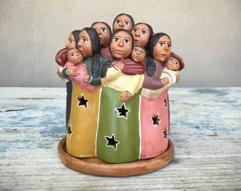 Vintage Peruvian folk art candle holder luminaria luminary, folk art pottery, covered candleholder patio decor, friendship gift, Mothers Day
