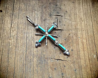 """Vintage 2"""" long Zuni needlepoint turquoise and silver cross pendant, Native American Indian jewelry, Zuni turquoise silver cross"""