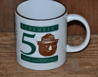 Vintage 1993 Smokey the Bear 50th Anniversary Coffee Cup Sierra National Forest